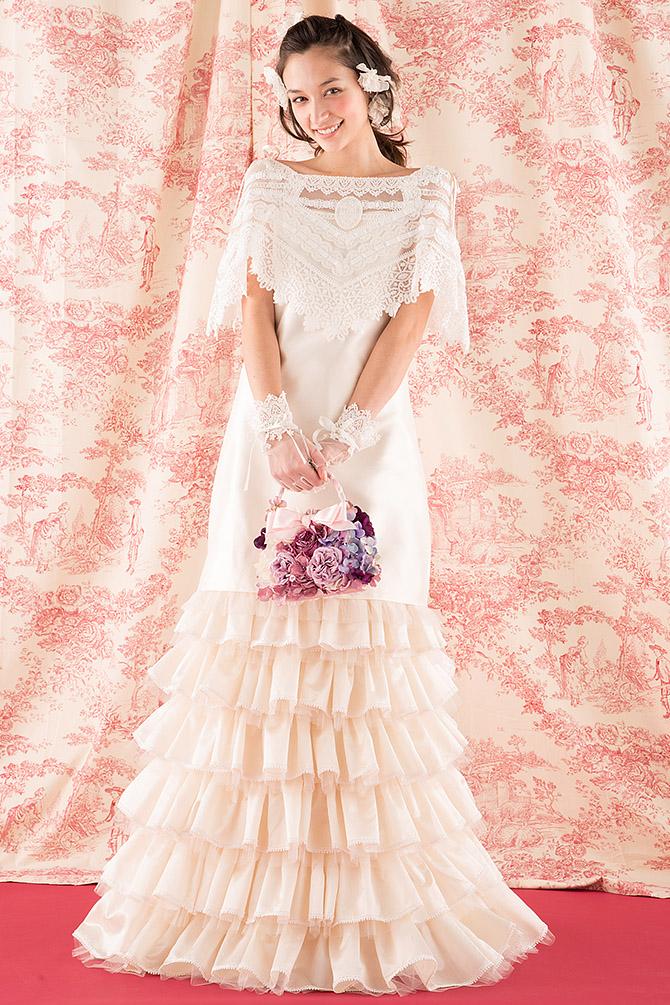 ウェディングドレス レンタル プレタ オーダー | ドレスマニア N0008 ミニとロング(エンパイア)の2wayが楽しめるウェディングドレス