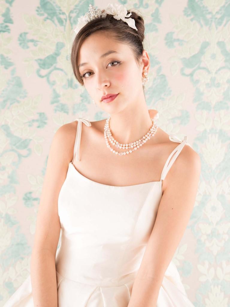 ウェディングドレス レンタル プレタ オーダー | ドレスマニア N0009 クラシカルプリンセススタイル 華奢なリボンストラップが大人スウィート