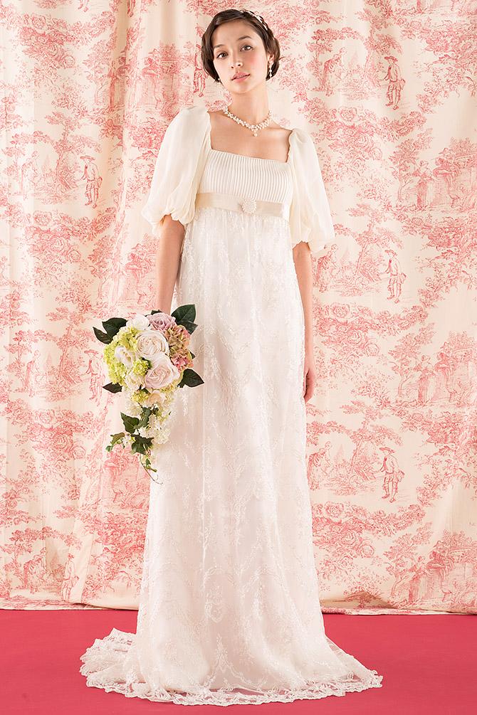 ウェディングドレス レンタル プレタ オーダー | ドレスマニア N0011 ドレスマニア、一番人気のウェディングドレス。バルーンスリーブが愛らしいエンパイア