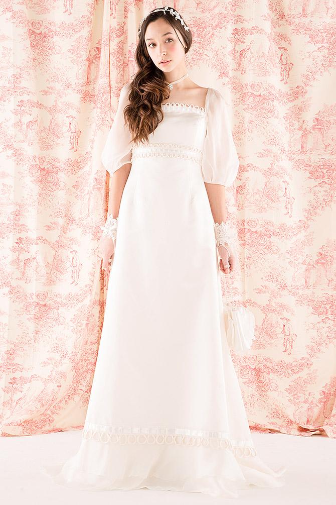 ウェディングドレス レンタル プレタ オーダー | ドレスマニア N0006 ボリュームのあるパフスリーブが清廉な特徴のドレスマニア エンパイアドレス!