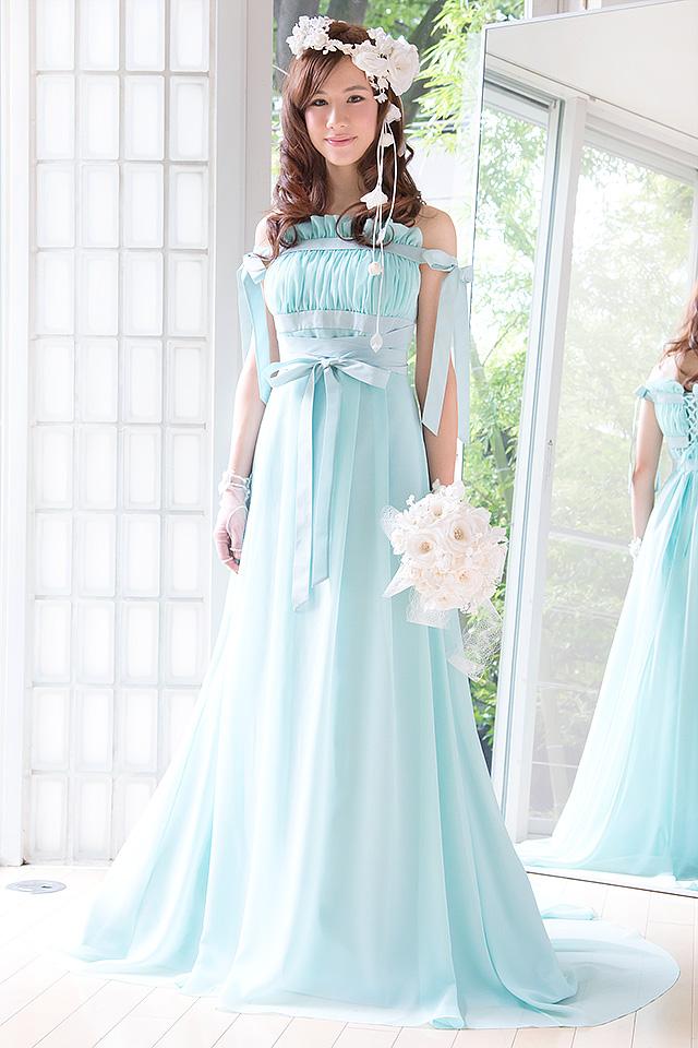 ウェディングドレス レンタル プレタ オーダー | ドレスマニア N0030GR ミューズのようなスレンダースタイル