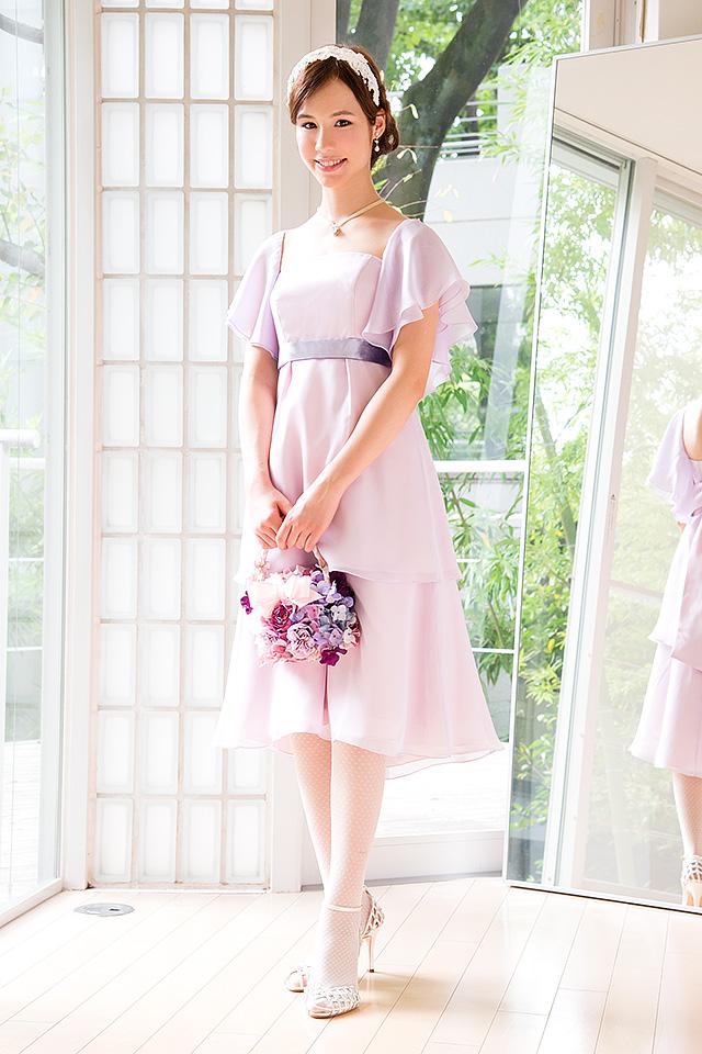 ウェディングドレス レンタル プレタ オーダー | ドレスマニア N0032Pu 大人の花嫁様にぴったりの落ち着いたラベンダーのカラードレス
