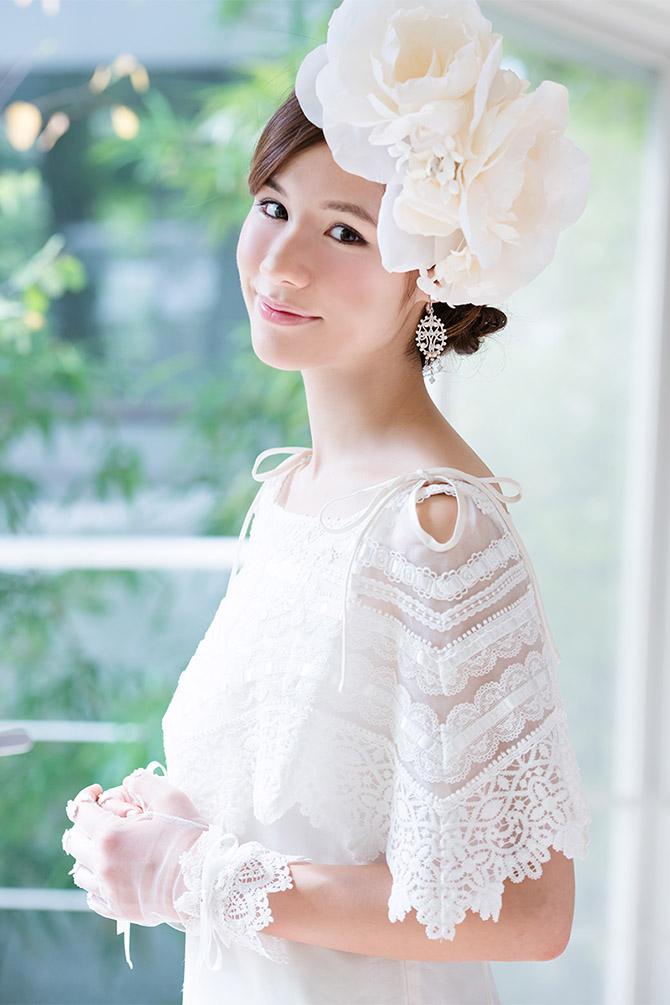 ウェディングドレス レンタル プレタ オーダー | ドレスマニア ヘアアクセサリー ドレスマニアオリジナル 大きいお花のボンネ
