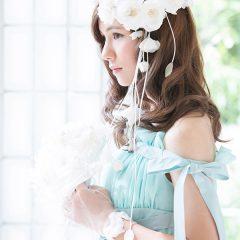 N0030Gr ミューズのようなスレンダースタイル ペパーミントグリーンのカラードレス。